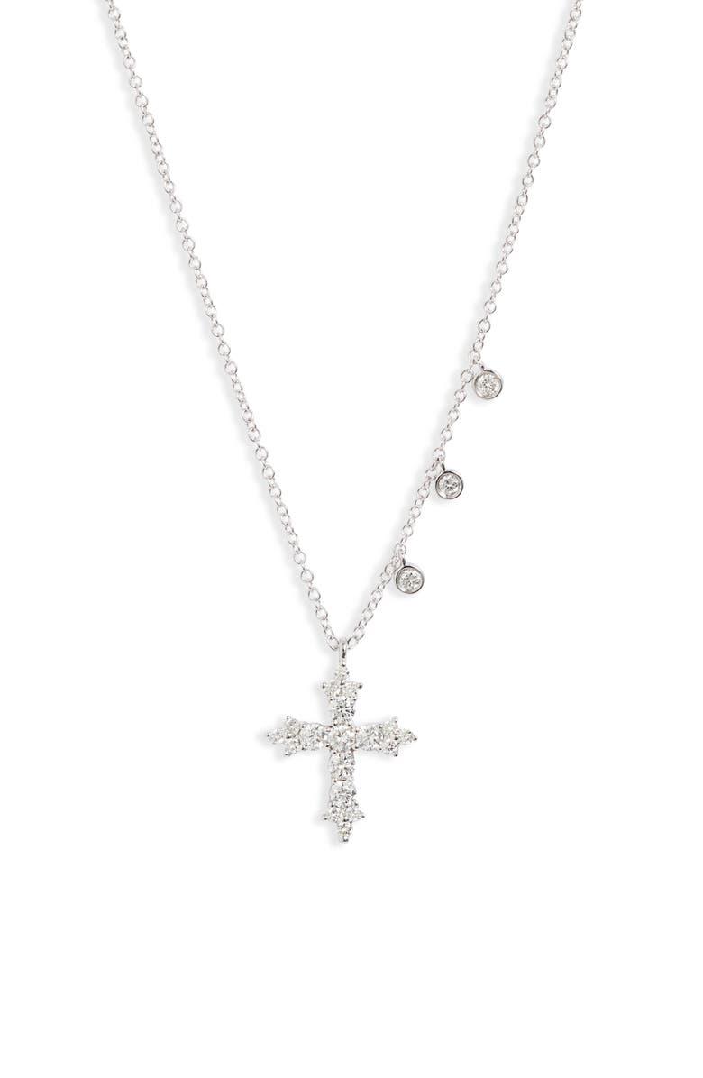 MEIRA T Diamond Cross Necklace, Main, color, 710