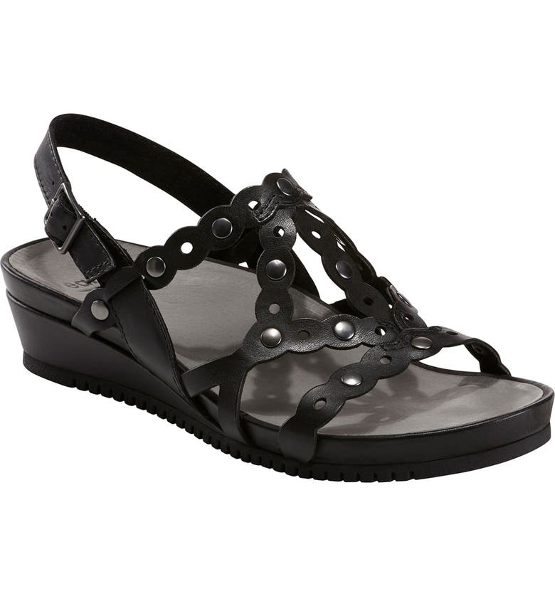 EARTH<SUP>®</SUP> Leo Slingback Wedge Sandal, Main, color, BLACK LEATHER