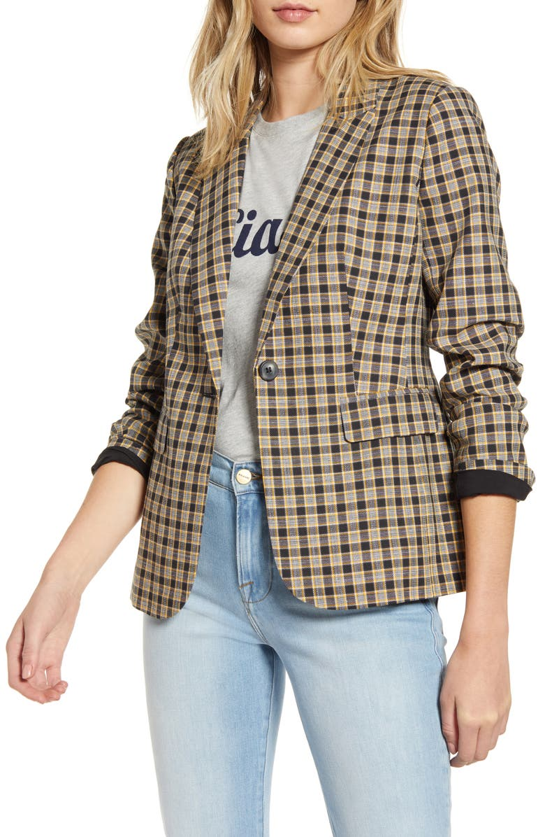 1901 Check Blazer, Main, color, BLACK- YELLOW CHECK PLAID