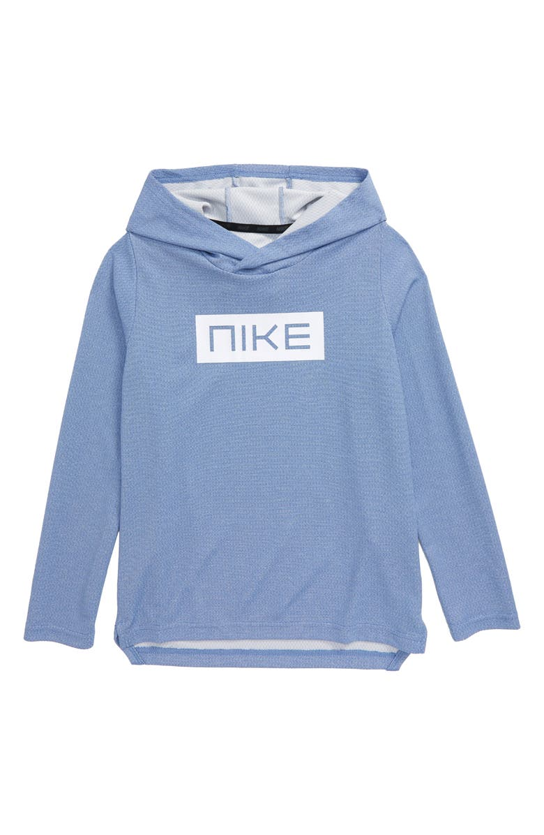 NIKE Dri-FIT Statement Performance Hooded Long Sleeve Shirt, Main, color, GAME ROYAL/ WHITE
