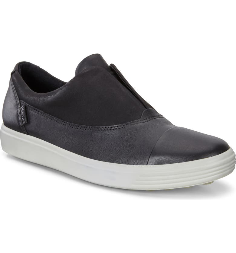 ECCO Soft 7 III Slip-On Sneaker, Main, color, BLACK LEATHER