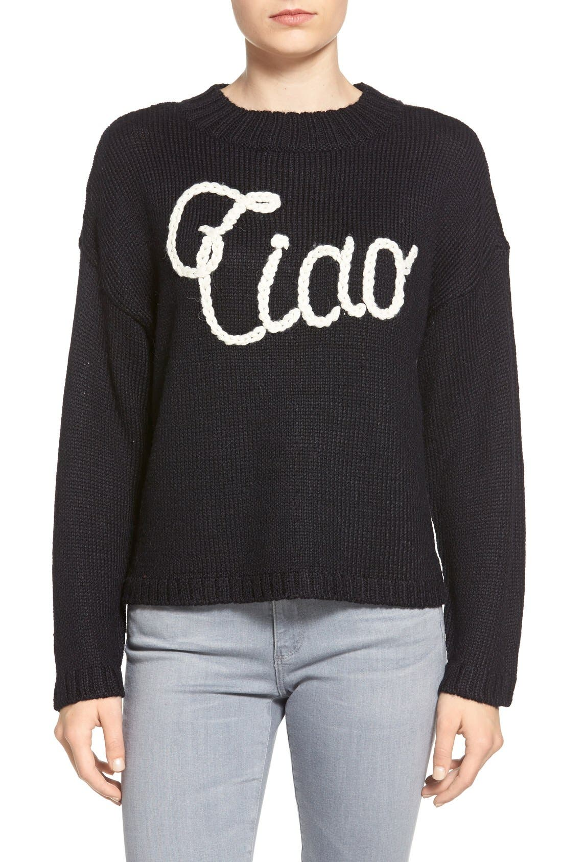 ,                             'Ciao Bella' Pullover Sweater,                             Main thumbnail 1, color,                             001
