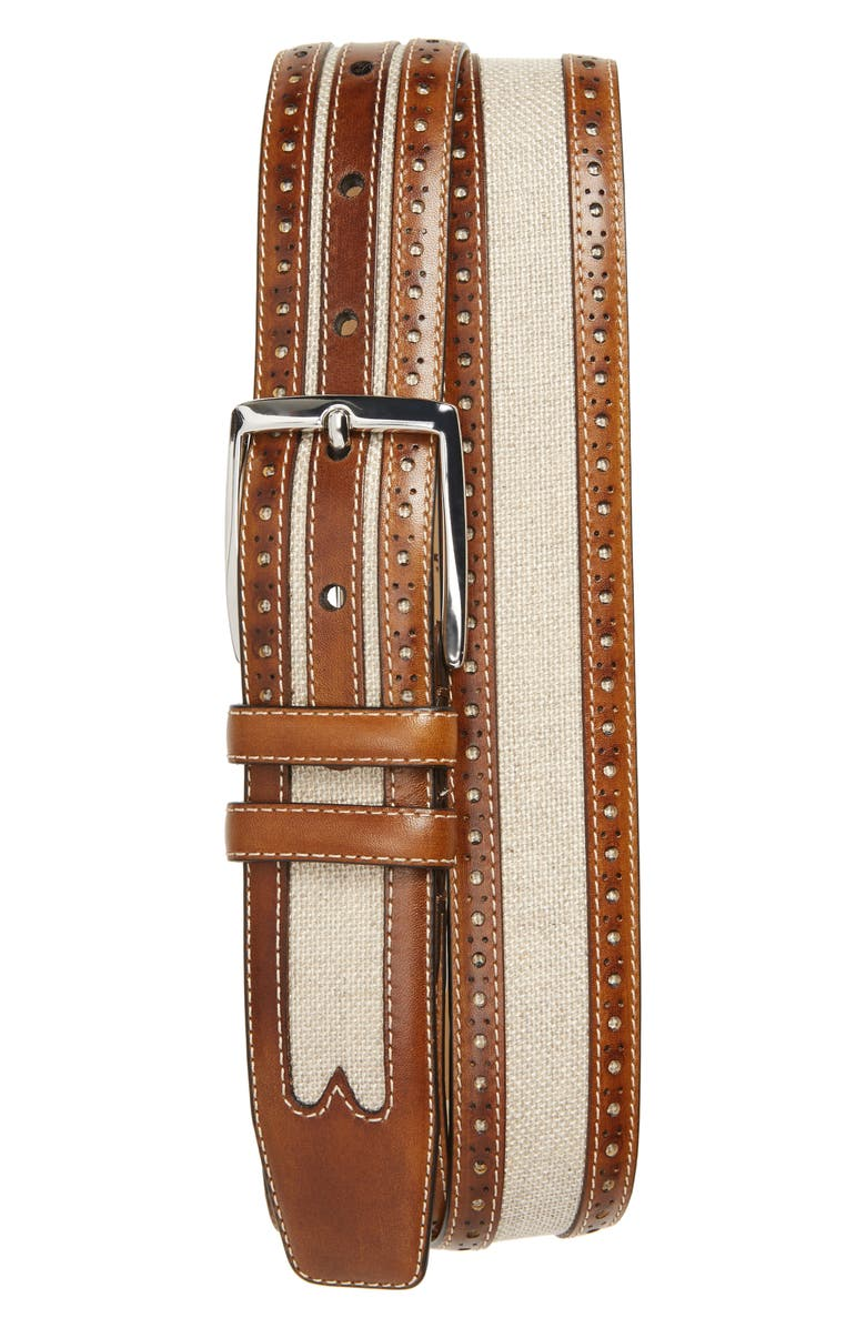 MEZLAN Palma Linen & Leather Belt, Main, color, HONEY/ BONE