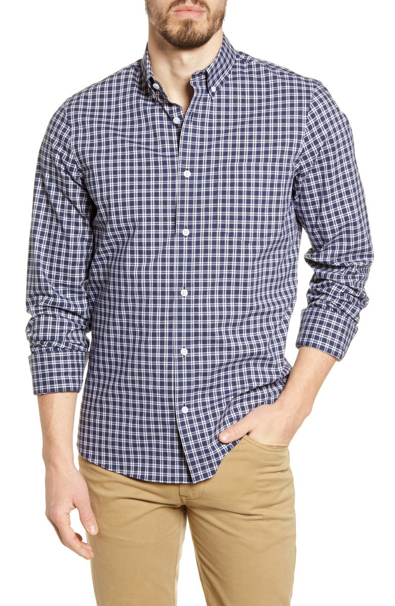 NORDSTROM MEN'S SHOP Trim Fit Plaid Stretch Non-Iron Button-Up Shirt, Main, color, 410