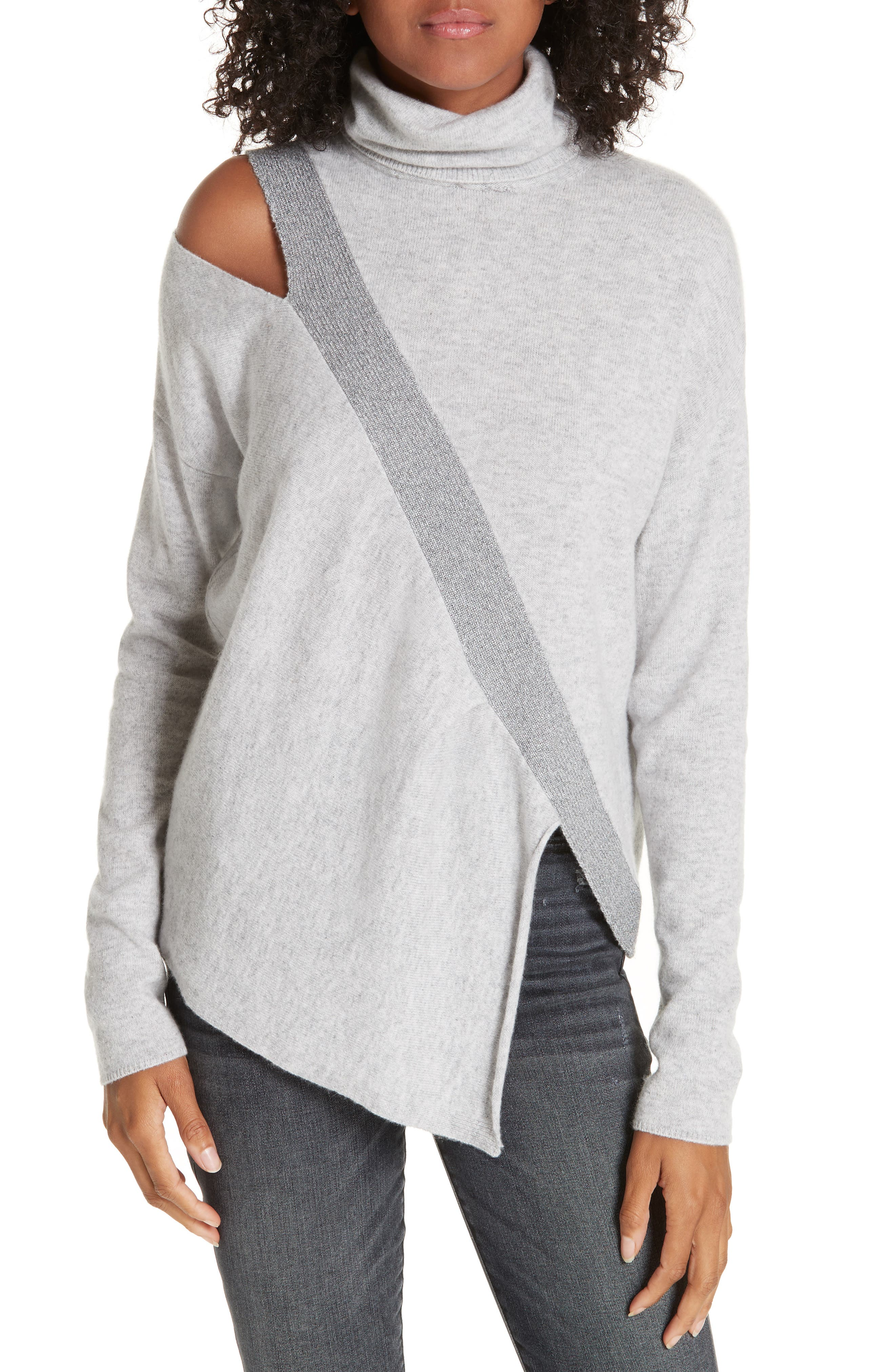 ,                             Fae Cold Shoulder Asymmetrical Cashmere Blend Sweater,                             Main thumbnail 1, color,                             ARCTIC GREY COMBO
