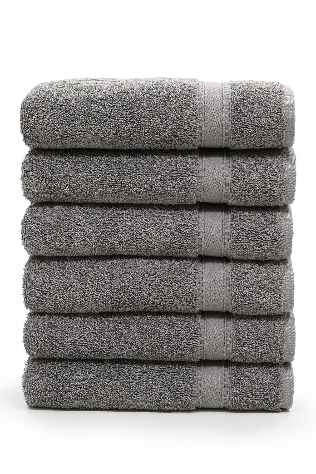 Image of LINUM HOME Sinemis Terry Hand Towels - Set of 6 - Dark Grey