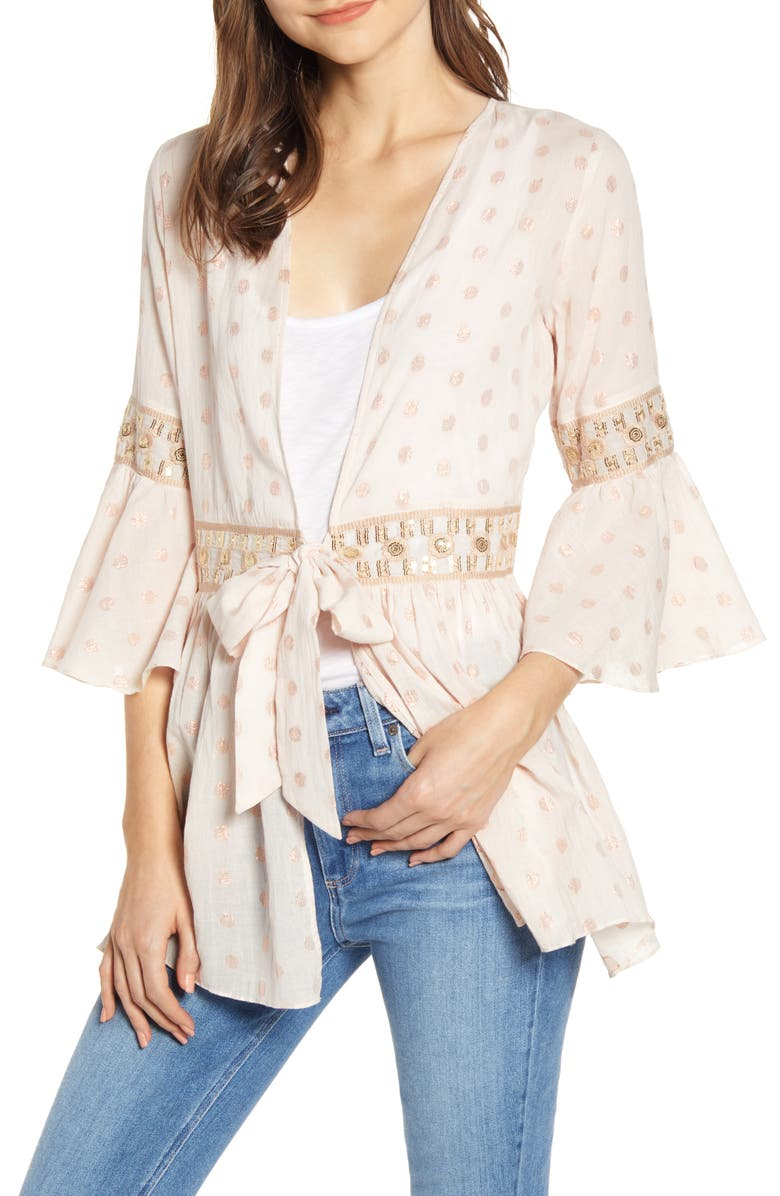 A LA PLAGE Embroidered Bell Sleeve Jacket, Main, color, SOFT BLUSH