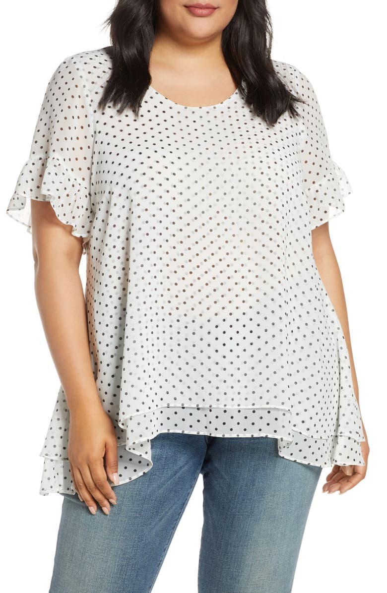 ESTELLE Selena Polka Dot Ruffle Sleeve Chiffon Blouse, Main, color, MILK/ BLACK