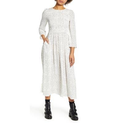 Codexmode Polka Dot Smocked Bodice Midi Dress, White