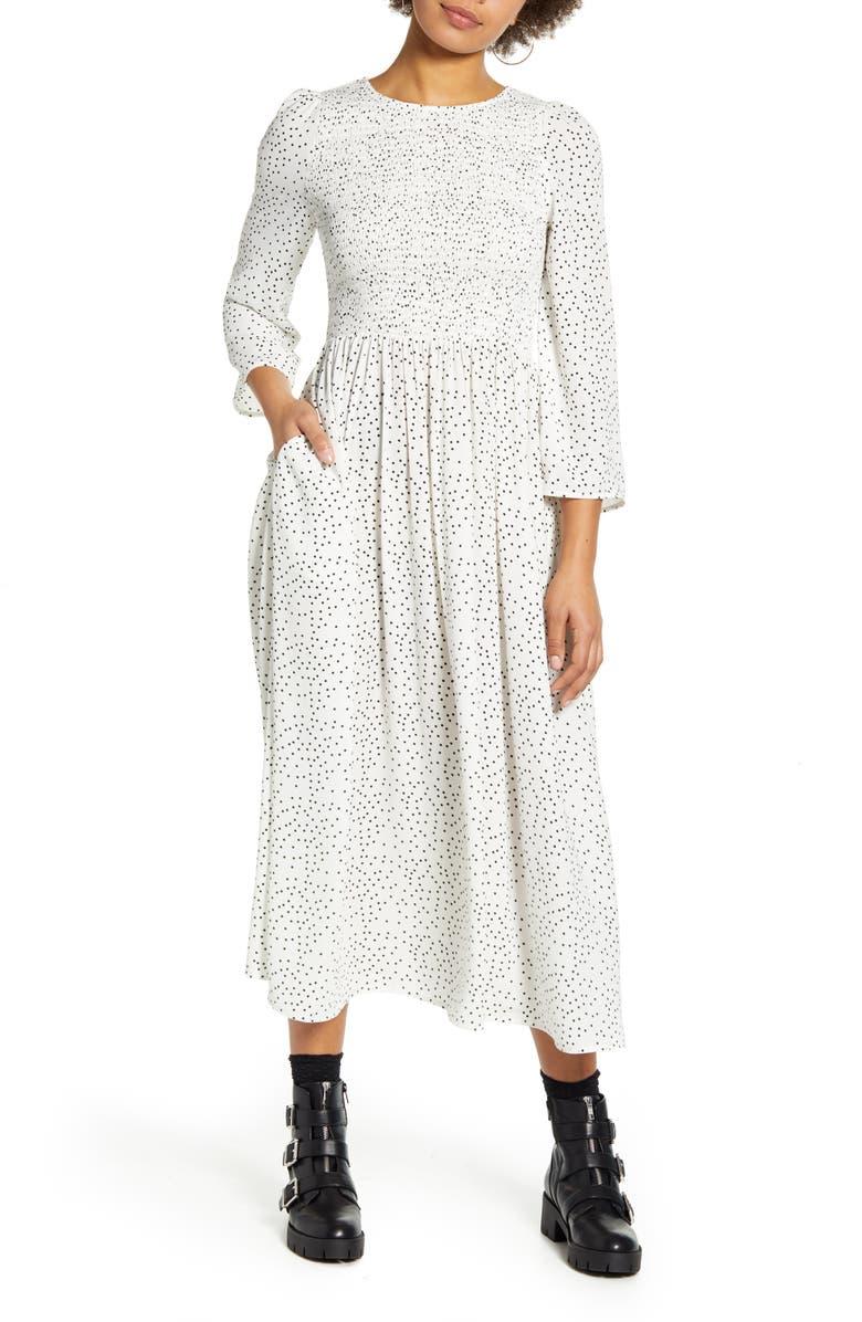 CODEXMODE Polka Dot Smocked Bodice Midi Dress, Main, color, 100