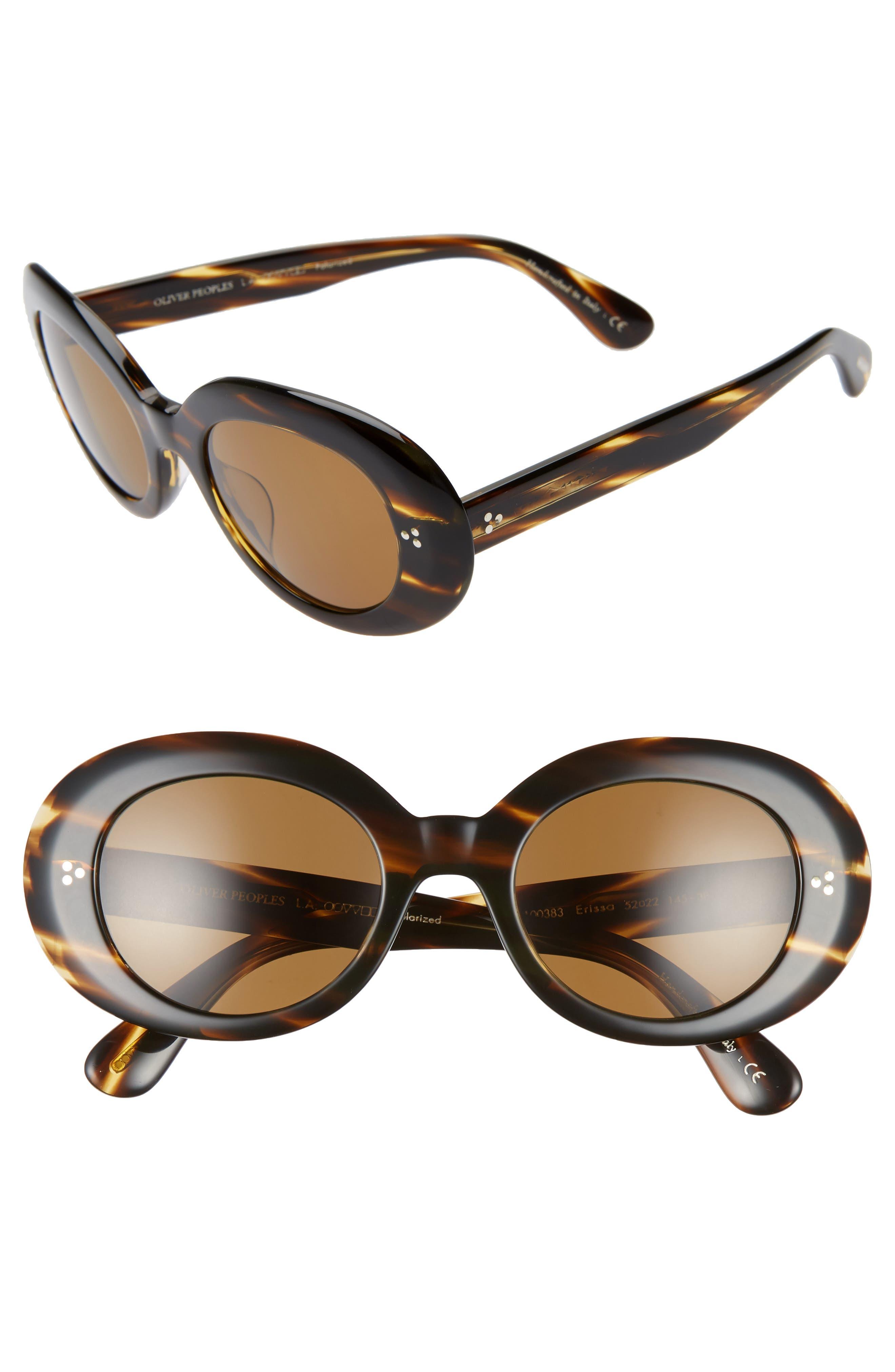 Oliver Peoples Erissa 52Mm Round Sunglasses - Havana/ Dark Brown
