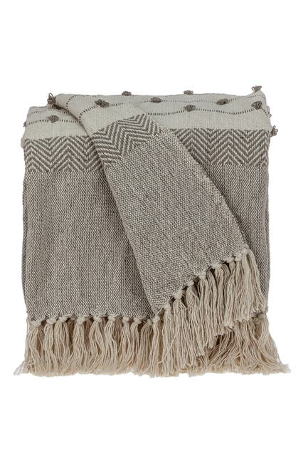 """Image of Parkland Collection Ishan Eclectic Beige 52"""" x 67"""" Woven Handloom Throw"""