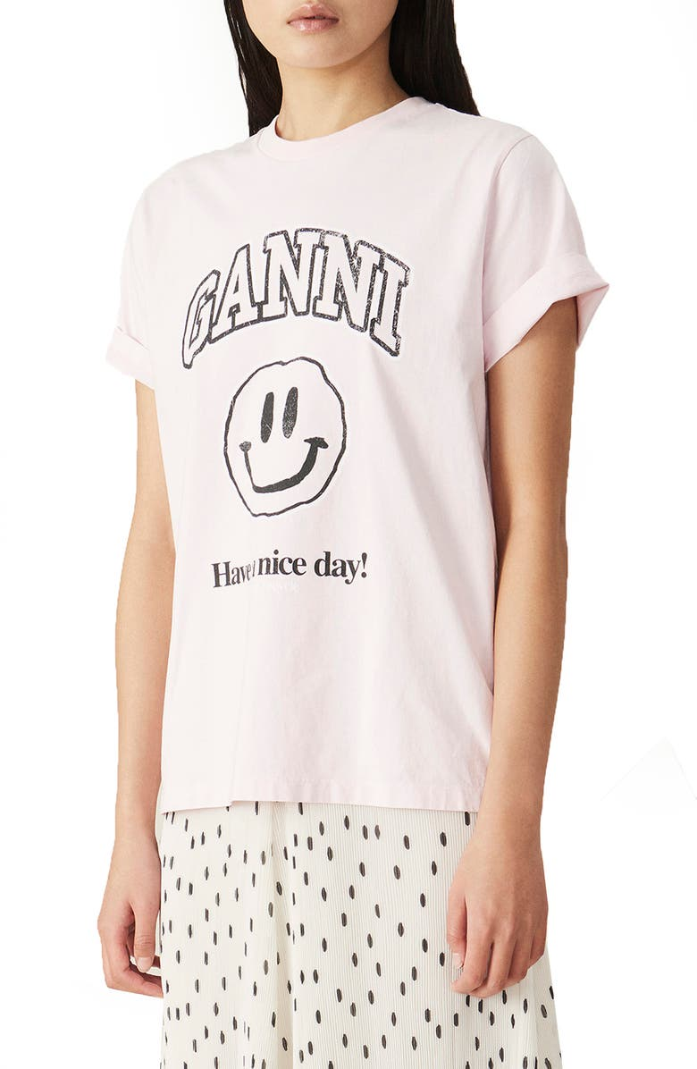 GANNI Happy Face Organic Cotton Graphic Tee, Main, color, CHERRY BLOSSOM