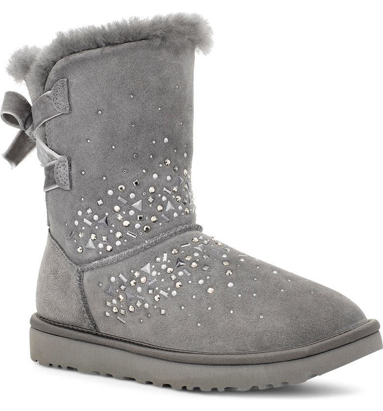 UGG<SUP>®</SUP> Classic Galaxy Bling Short Boot, Main, color, CHARCOAL SUEDE