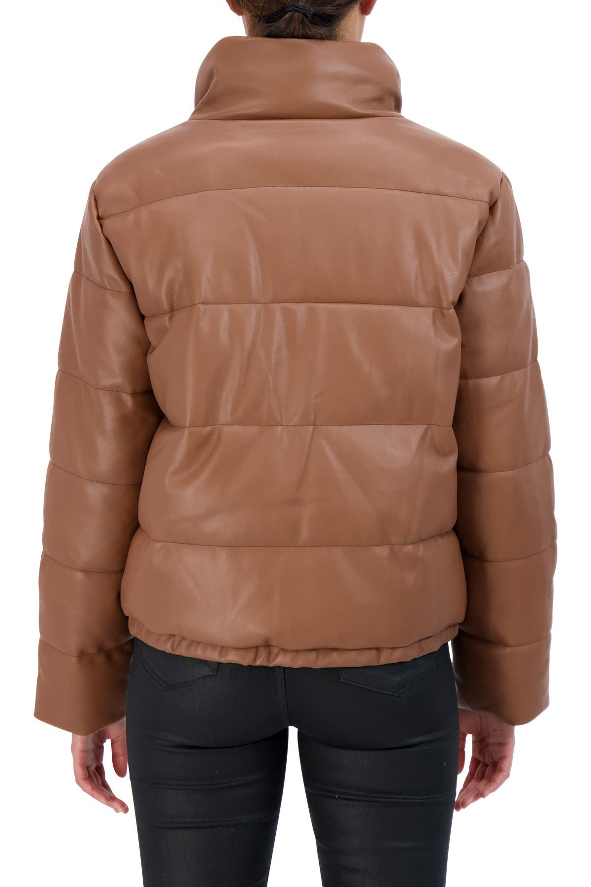 Sebby Collection Faux Leather Puffer Jacket