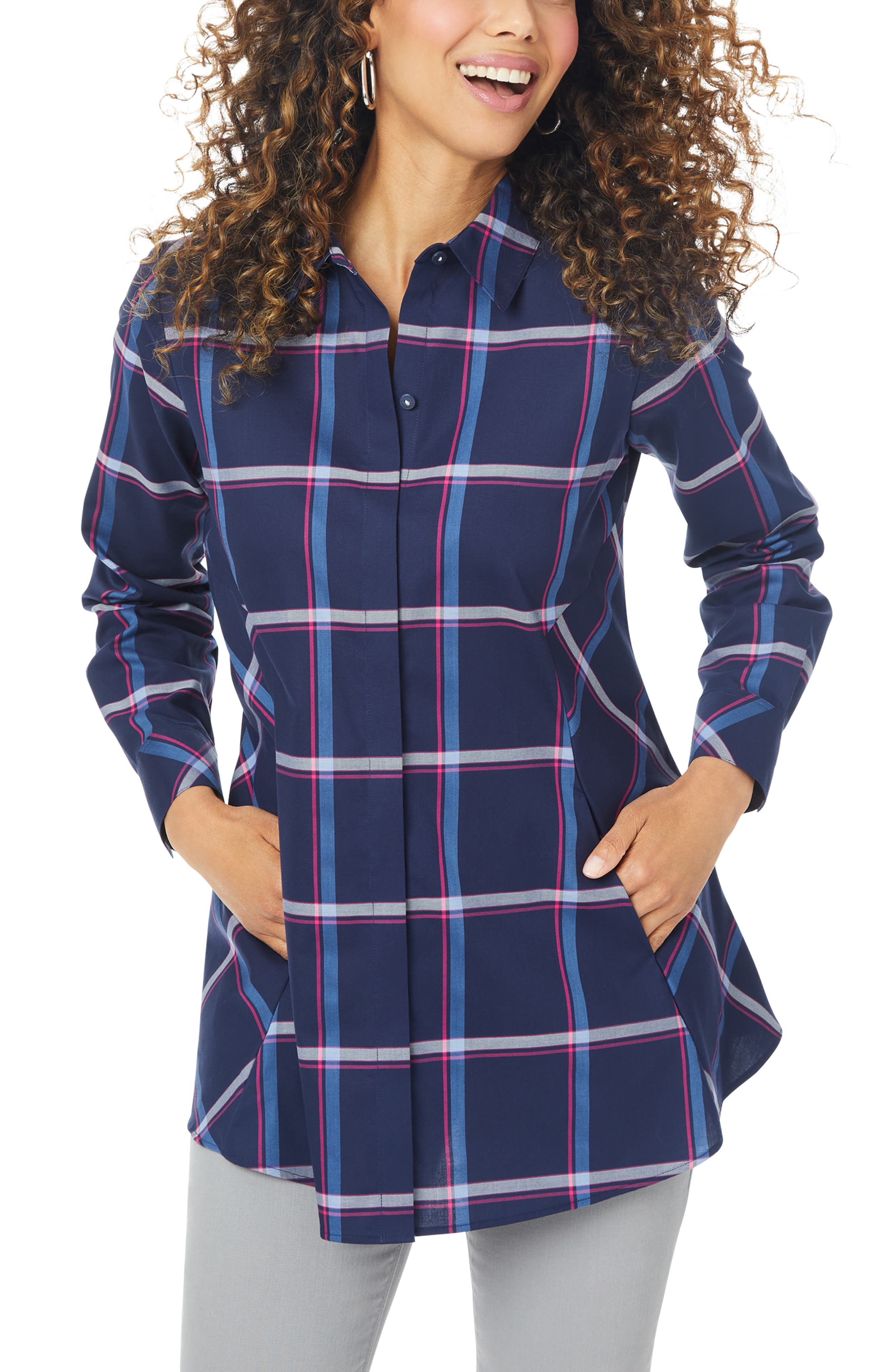 Cici Weekend Plaid Non-Iron Button-Up Tunic