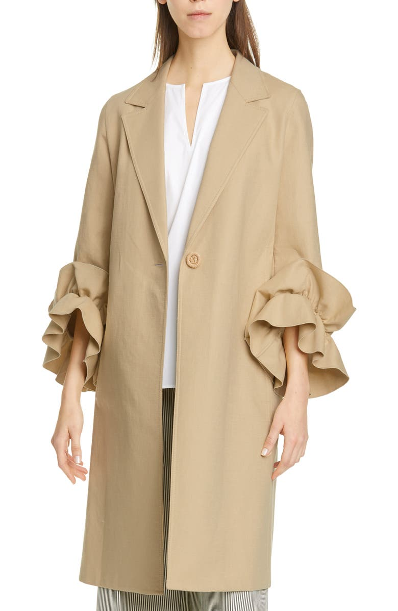 LAFAYETTE 148 NEW YORK Emmie Ruffle Sleeve Coat, Main, color, STONE