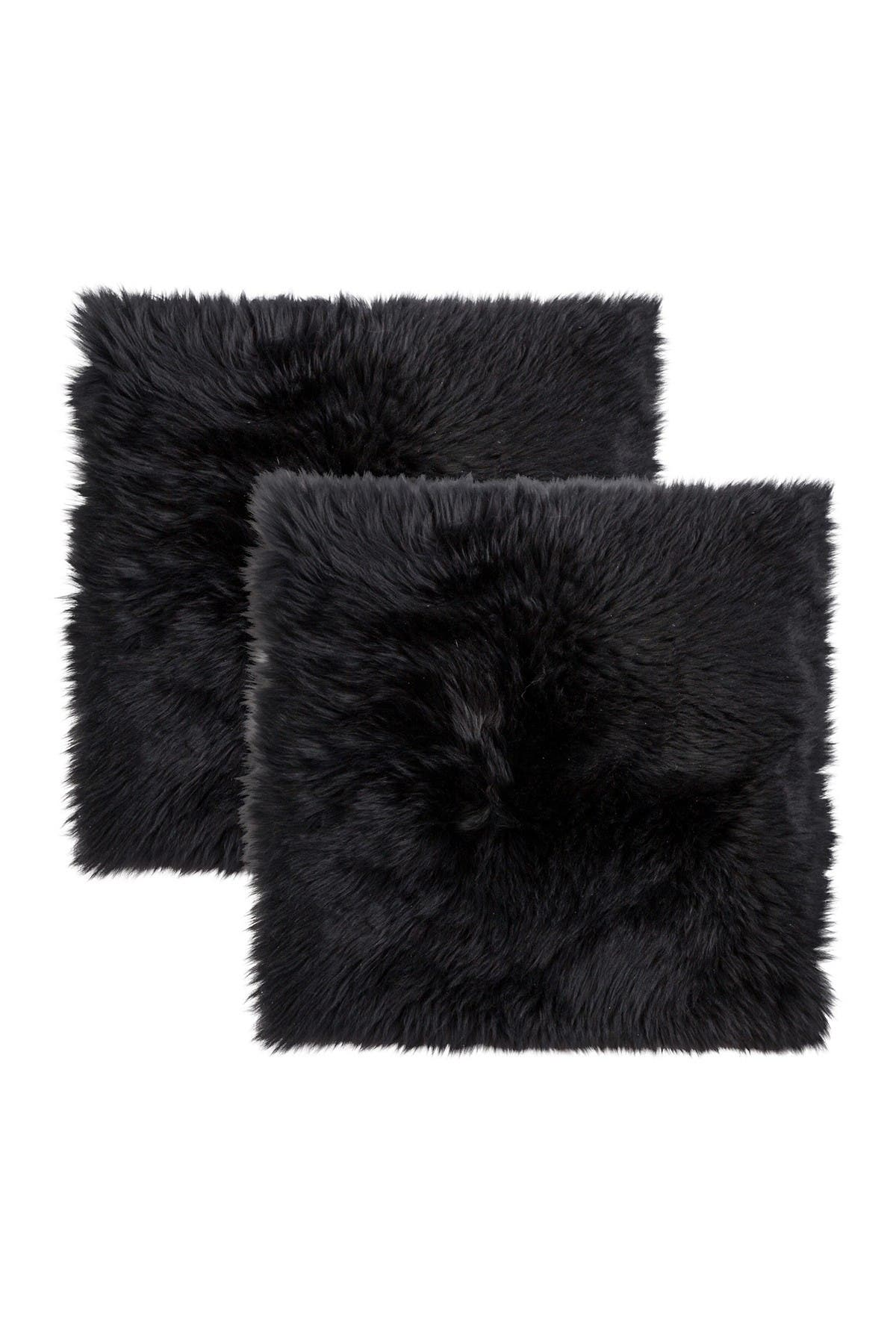 """Image of Natural New Zealand Genuine Sheepskin Shearling Chair Seat Pad - Set of 2 - 17"""" x 17"""" - Black"""
