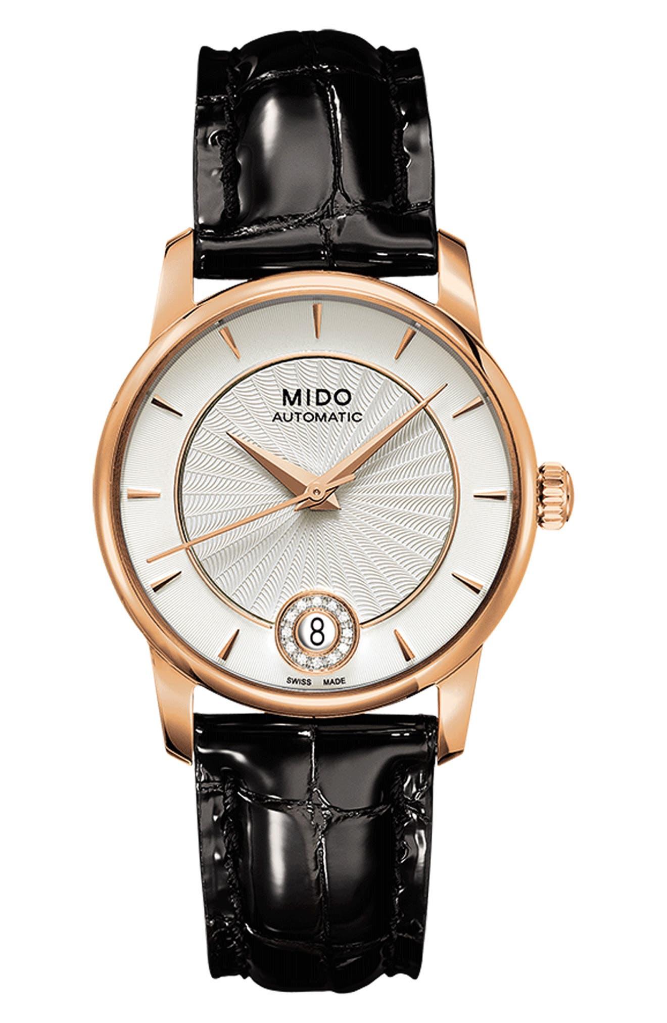 Baroncelli Diamond Automatic Leather Strap Watch