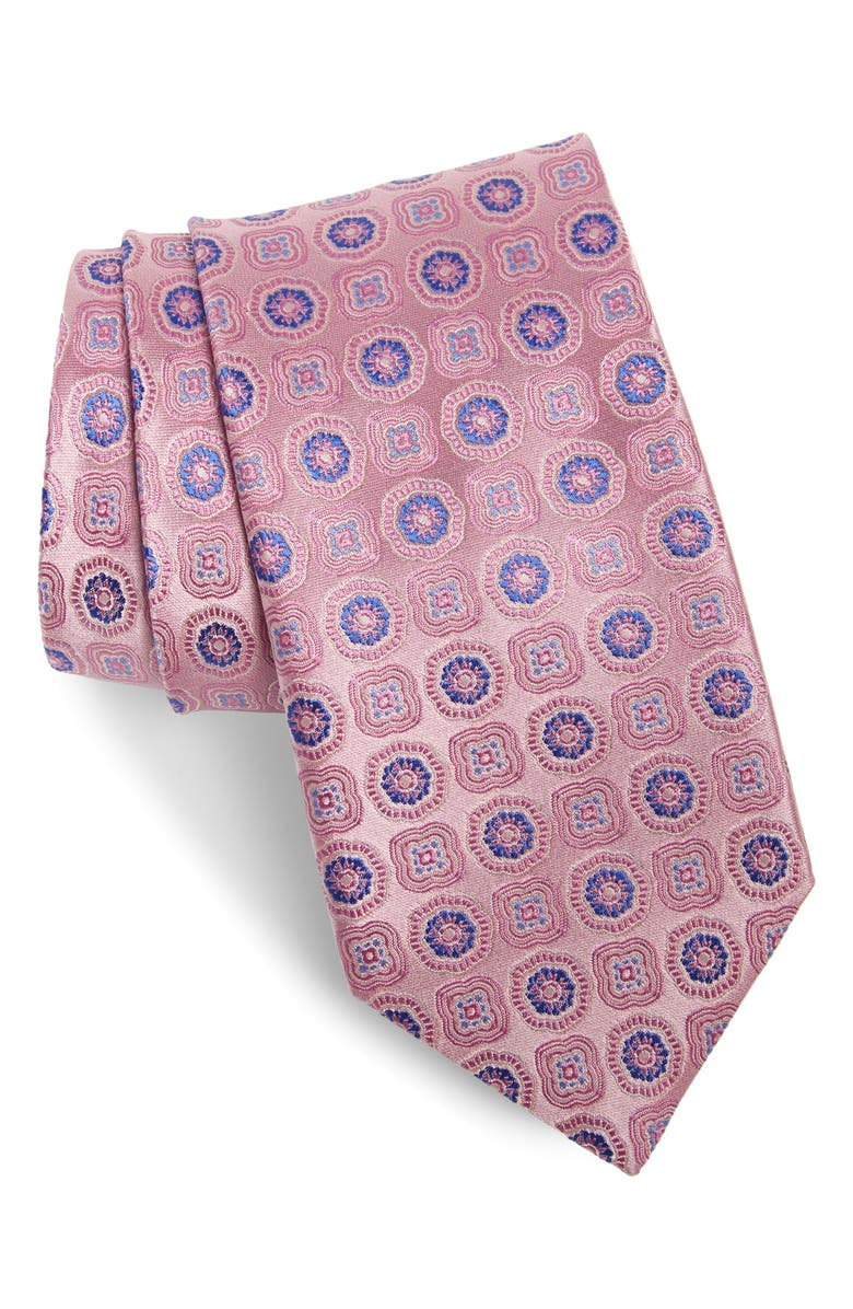 CANALI Floral Medallion Silk Tie, Main, color, PINK