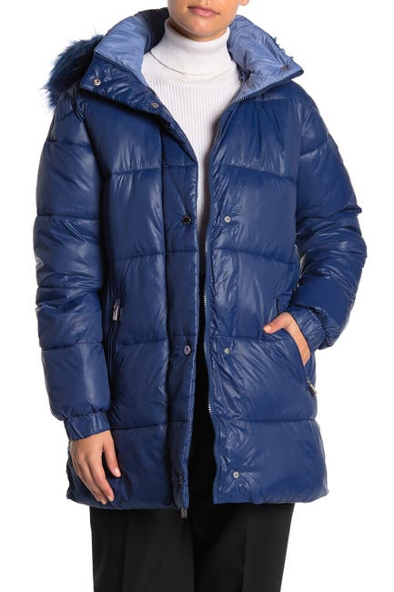 Image of Rachel Roy Faux Fur Trim Hooded Zip Puffer Jacket