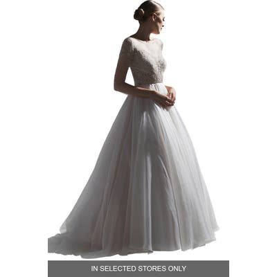 Watters Tessa Beaded Silk Organza & Tulle Wedding Dress, Size IN STORE ONLY - Ivory