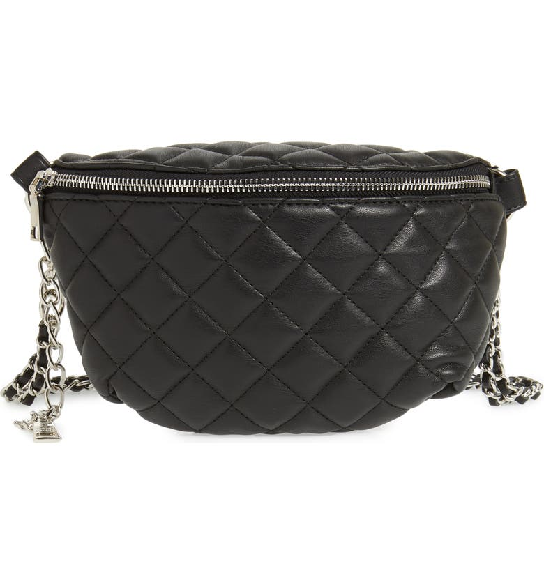 STEVE MADDEN Quilted Faux Leather Fanny Pack, Main, color, 001