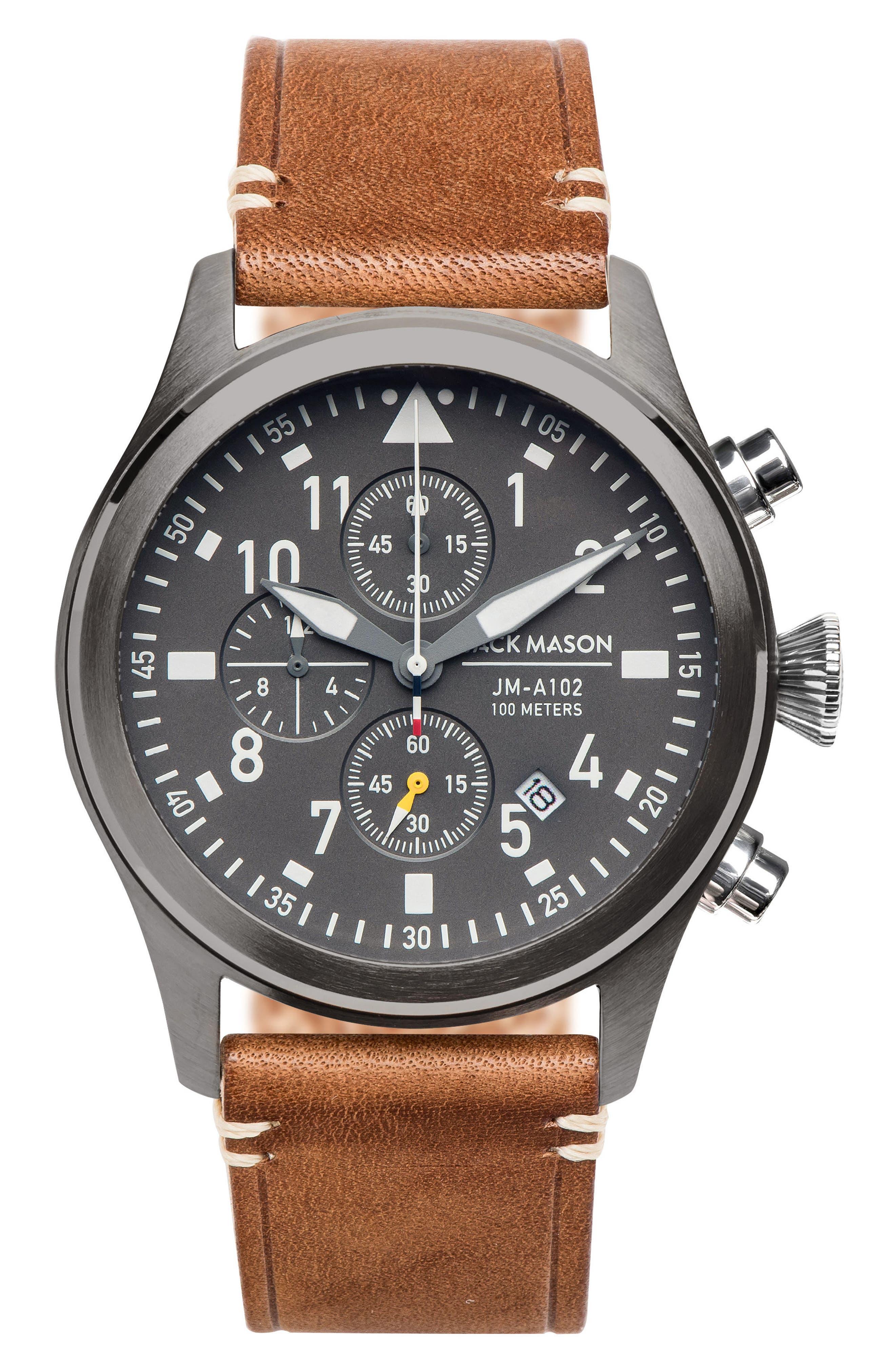 Brand Aviation Chronograph Watch, 42mm, Main, color, GREY/ TAN