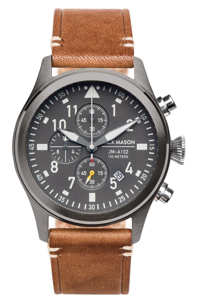 JACK MASON Brand Aviation Chronograph Watch, 42mm, Main, color, GREY/ TAN