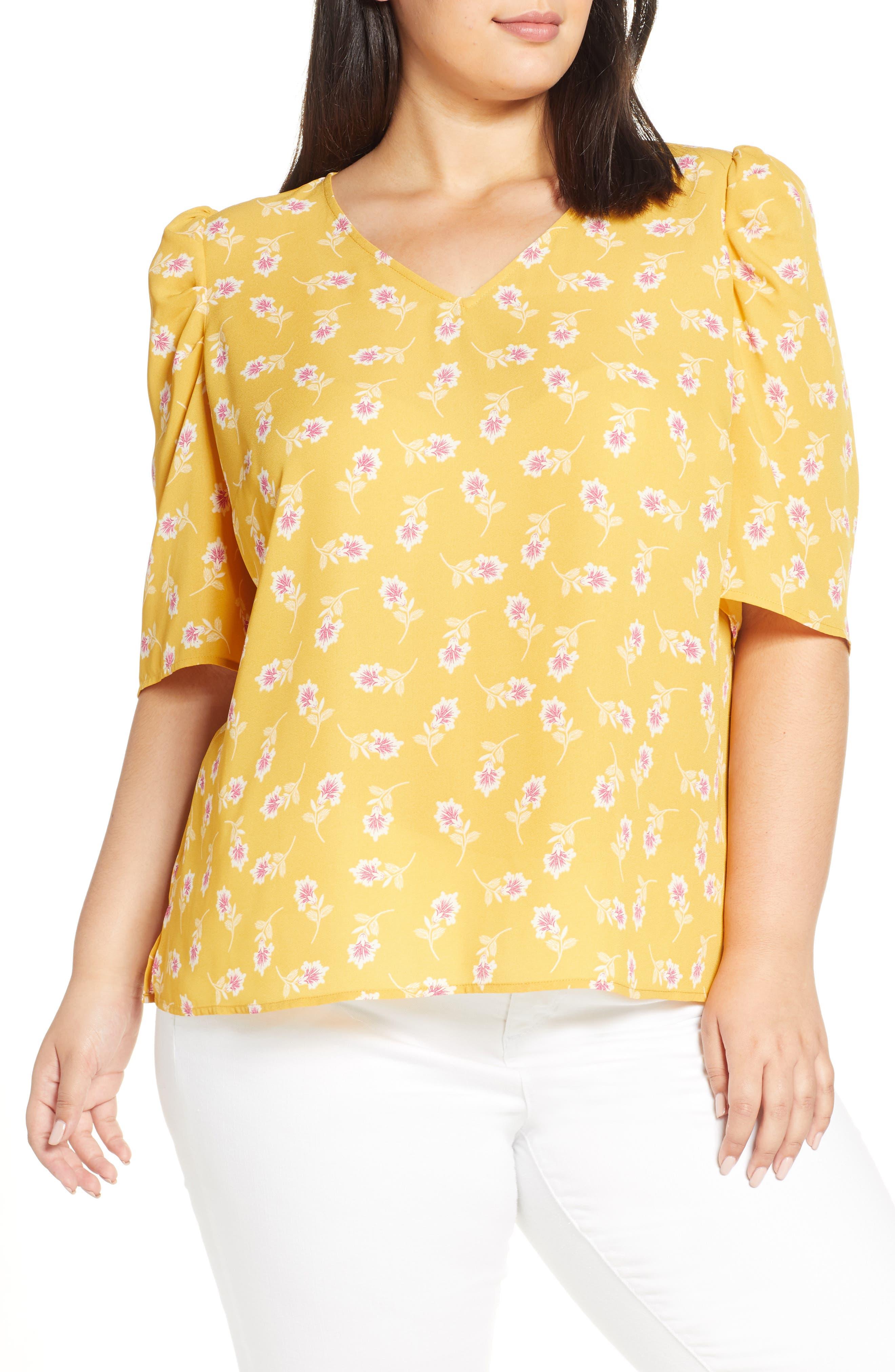 1930s Style Blouses, Shirts, Tops | Vintage Blouses Plus Size Womens Vince Camuto Floral Puff Shoulder Top Size 3X - Yellow $89.00 AT vintagedancer.com