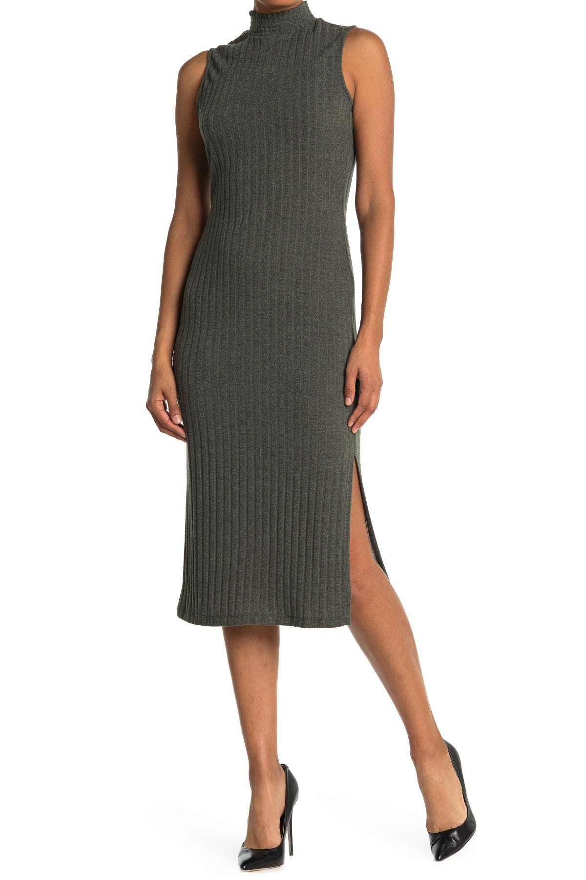 Image of Collective Concepts Mock Neck Ribbed Knit Midi Dress