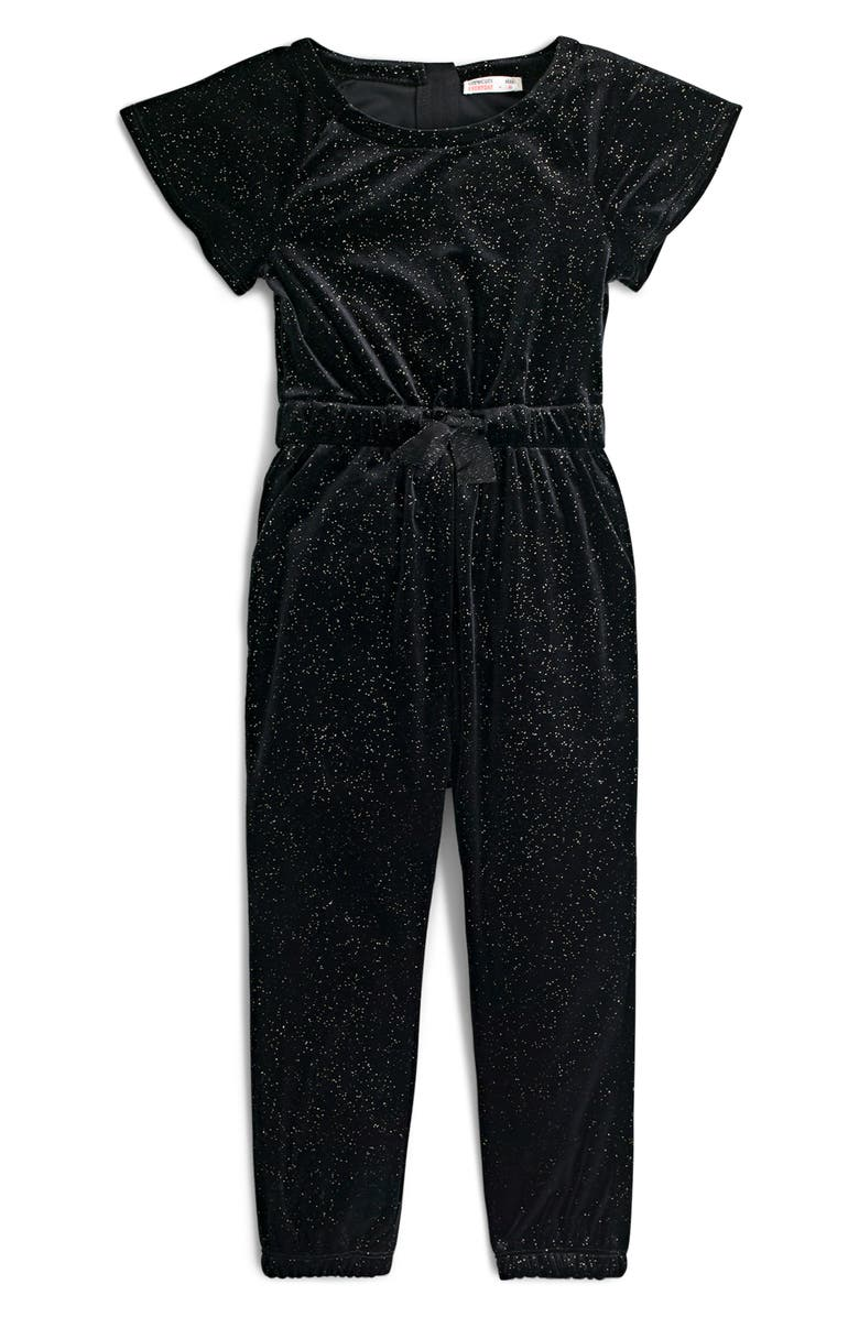 CREWCUTS BY J.CREW Glitter Velvet Short Sleeve Jumpsuit, Main, color, BLACK GOLD