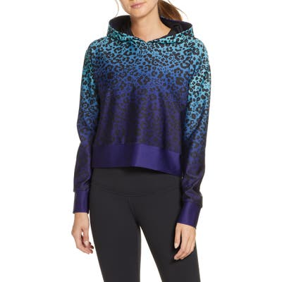 Cor Designed By Ultracor Ombre Leopard Crop Hoodie, Blue
