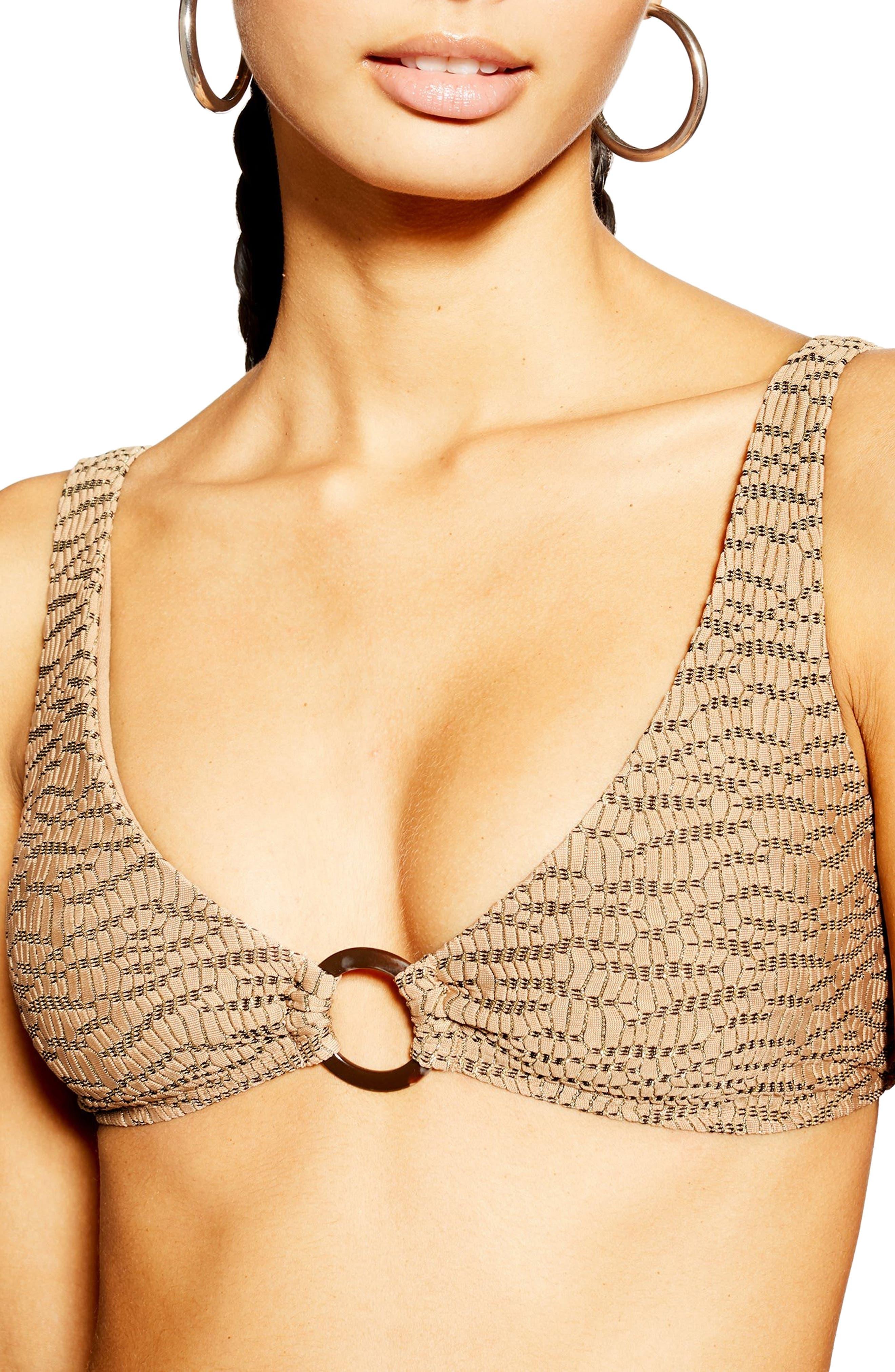 Topshop Jacquard Bikini Top, US (fits like 14) - Brown