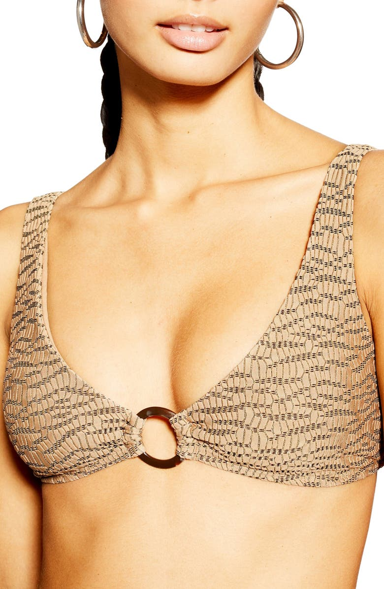 TOPSHOP Jacquard Bikini Top, Main, color, LIGHT BROWN