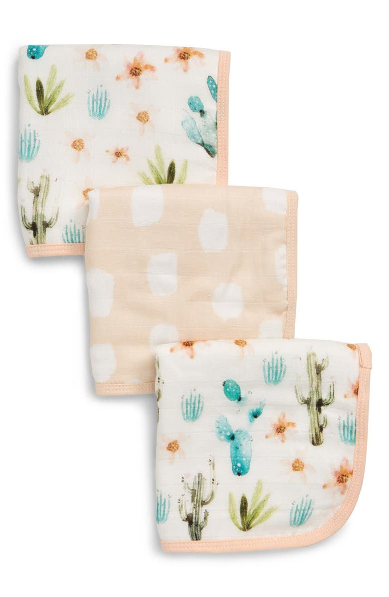 LOULOU LOLLIPOP Deluxe Pack of 3 Cactus Floral Washcloths, Main, color, CACTUS FLORAL