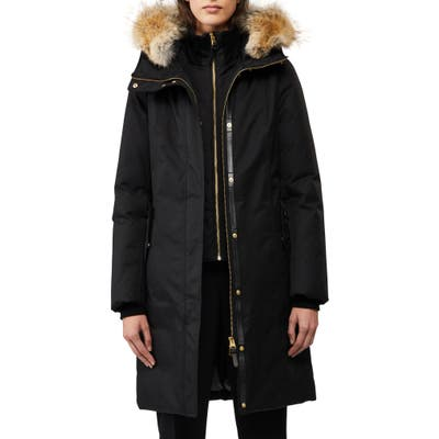 Mackage Luxe Down Coat With Removable Bib & Genuine Coyote Fur Trim, Black