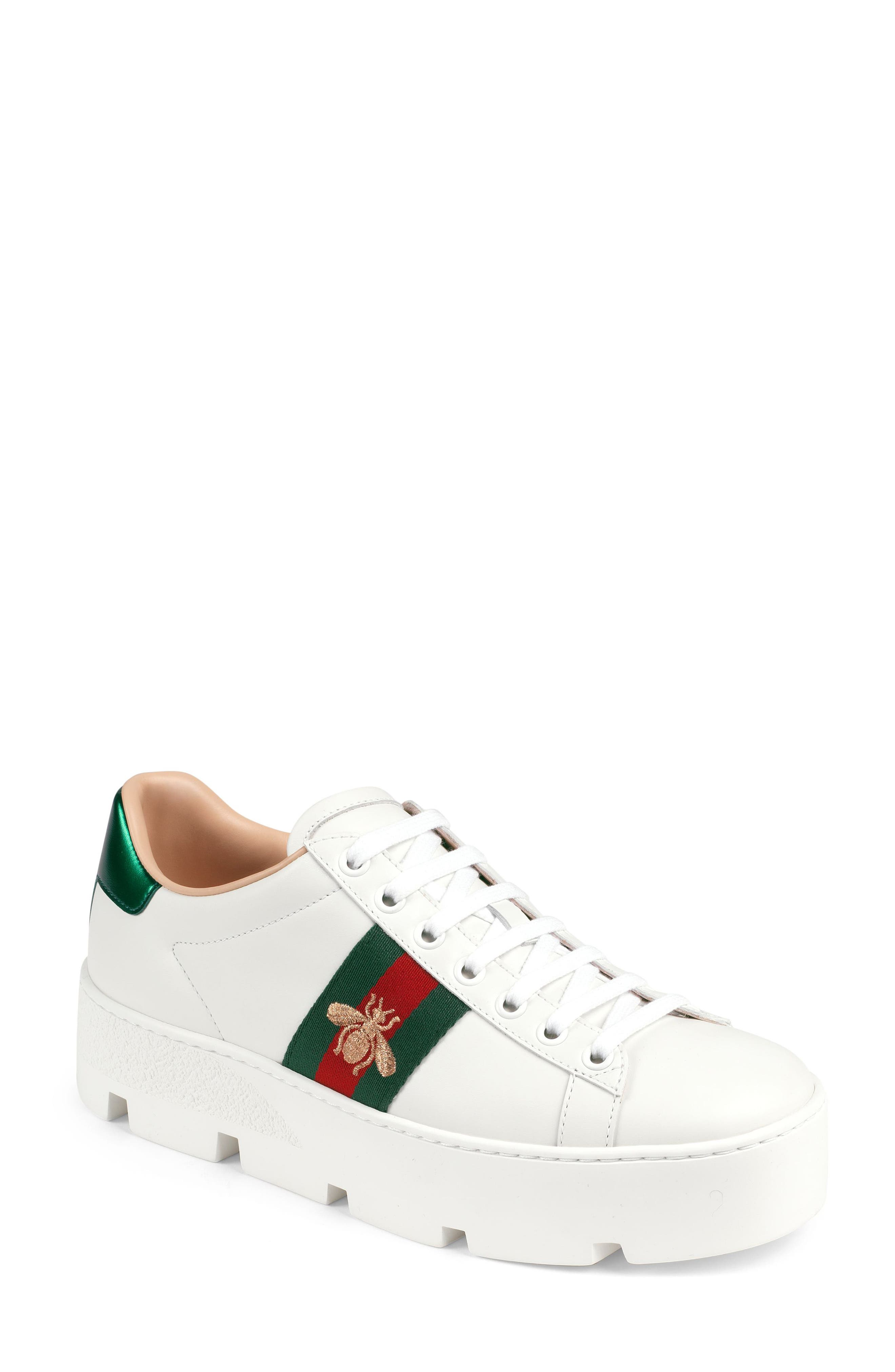 Gucci New Ace Platform Sneaker, White