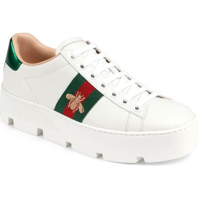 Gucci New Ace Platform Sneaker, White