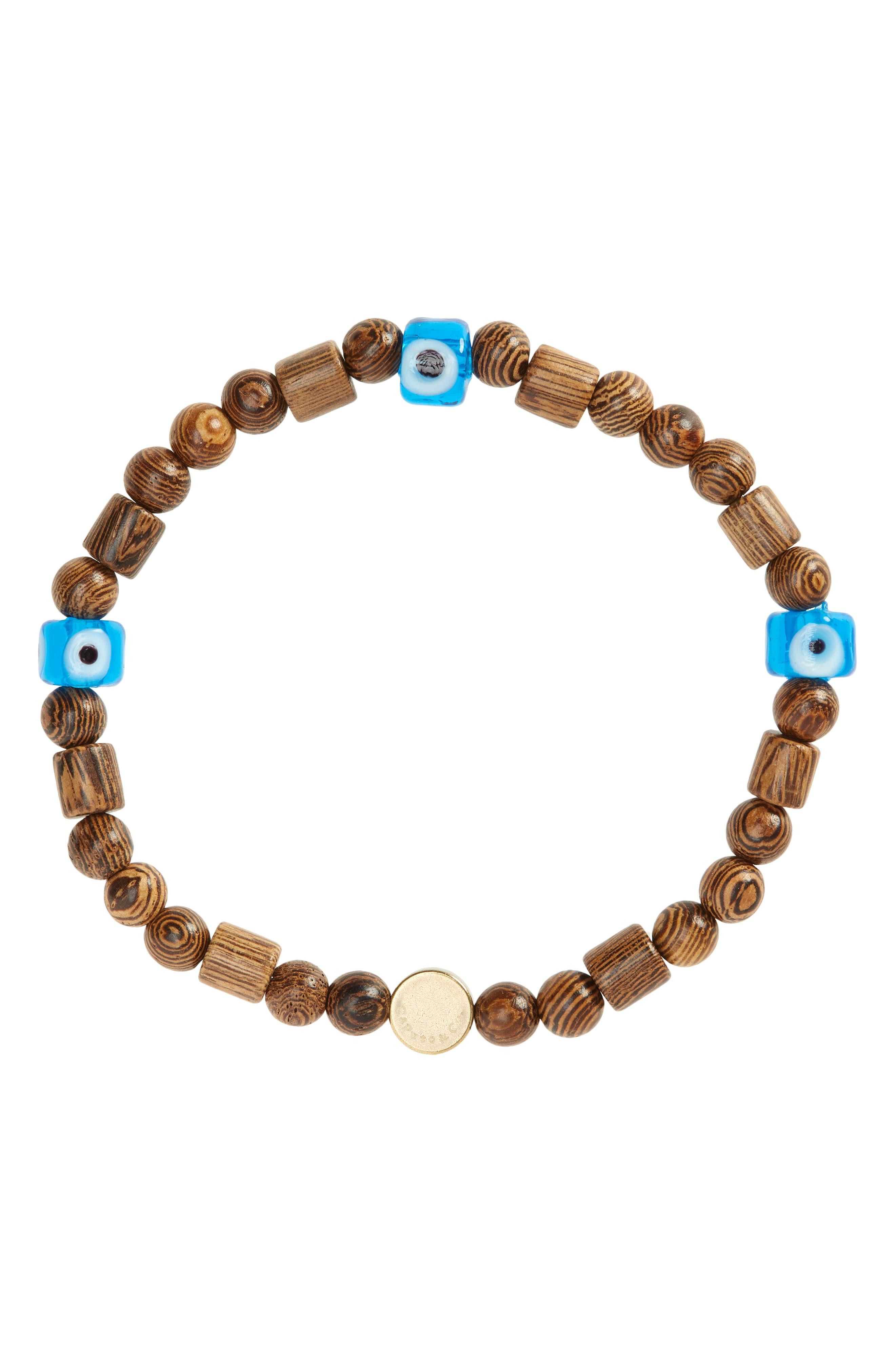 Men's Murano Evil Eye Beaded Stretch Bracelet