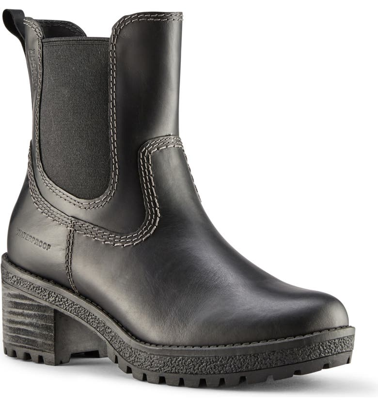 COUGAR Donna Waterproof Rain Boot, Main, color, BLACK LEATHER
