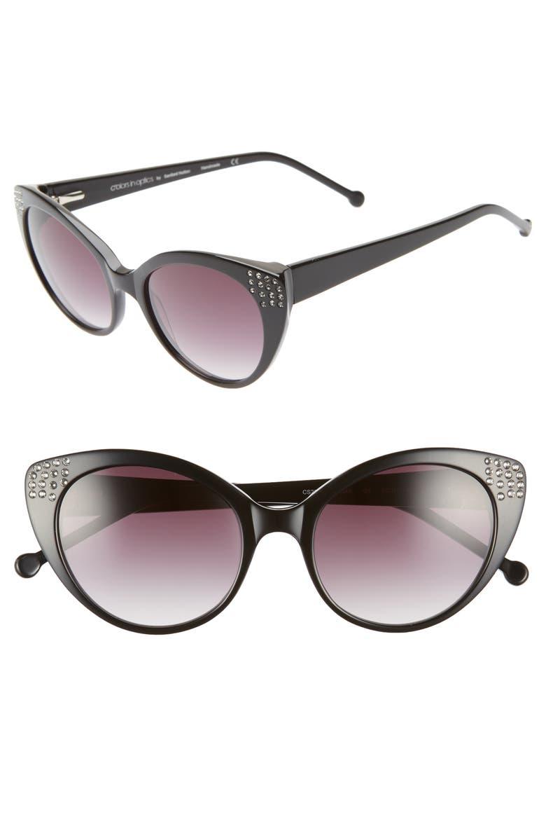 COLORS IN OPTICS Seema 52mm Gradient Lens Cat Eye Sunglasses, Main, color, BLACK