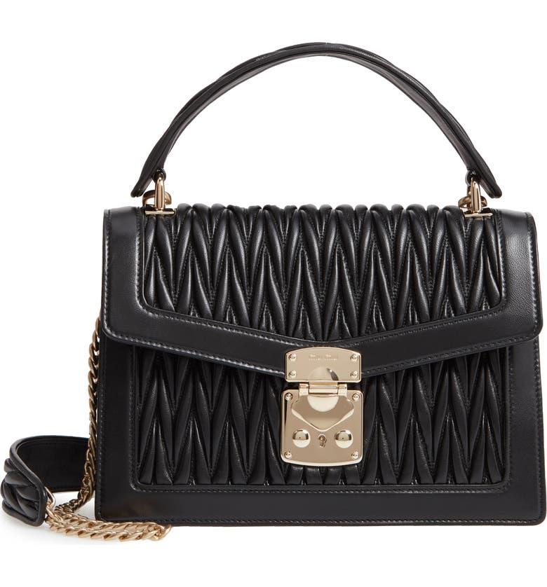 MIU MIU Confidential Matelassé Quilted Lambskin Leather Top Handle Bag, Main, color, NERO