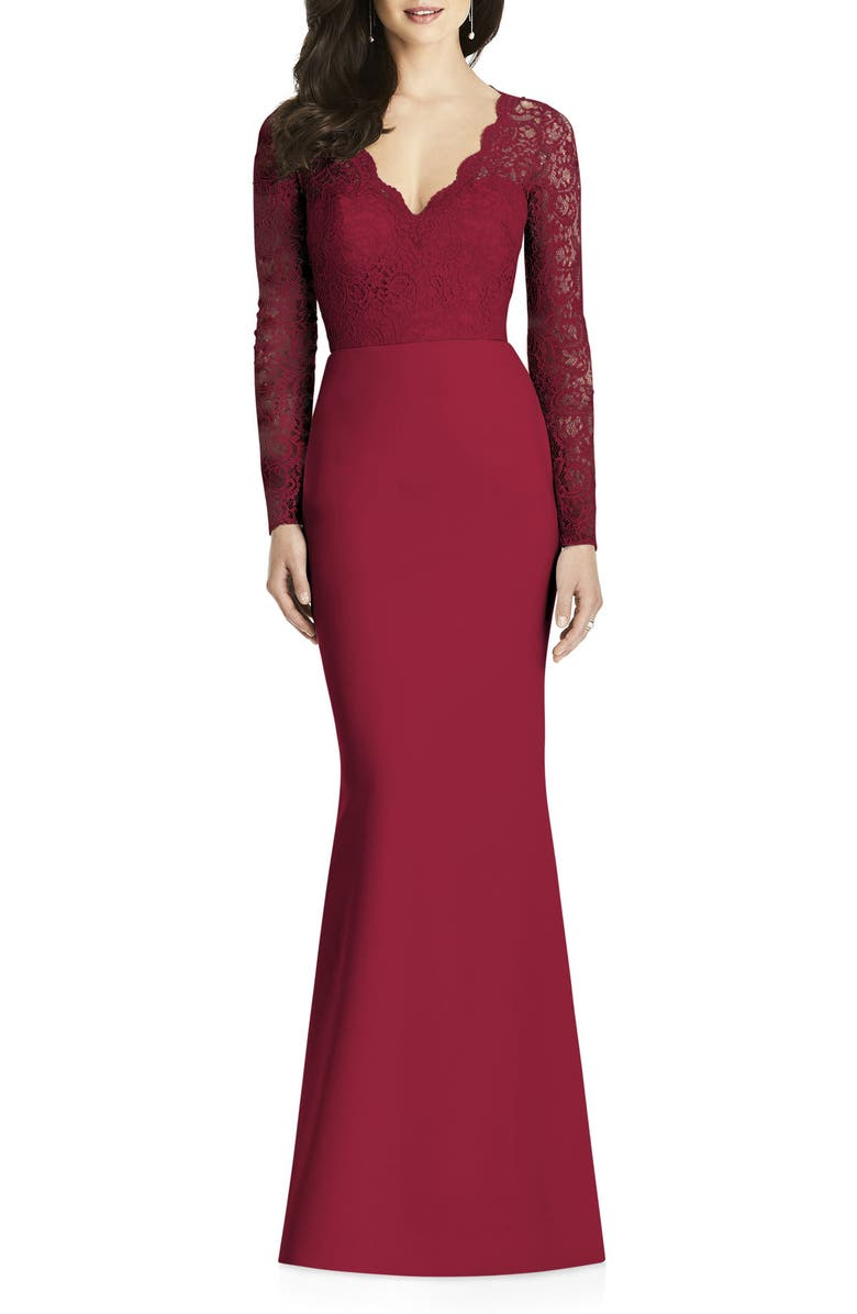 DESSY COLLECTION Long Sleeve Lace & Crepe Trumpet Gown, Main, color, BURGUNDY