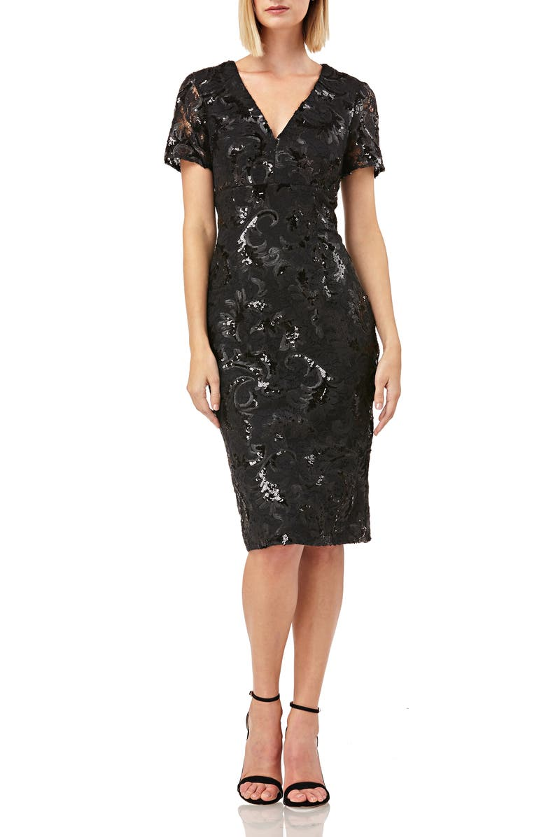 CARMEN MARC VALVO INFUSION V-Neck Sequin Soutache Cocktail Sheath, Main, color, 001