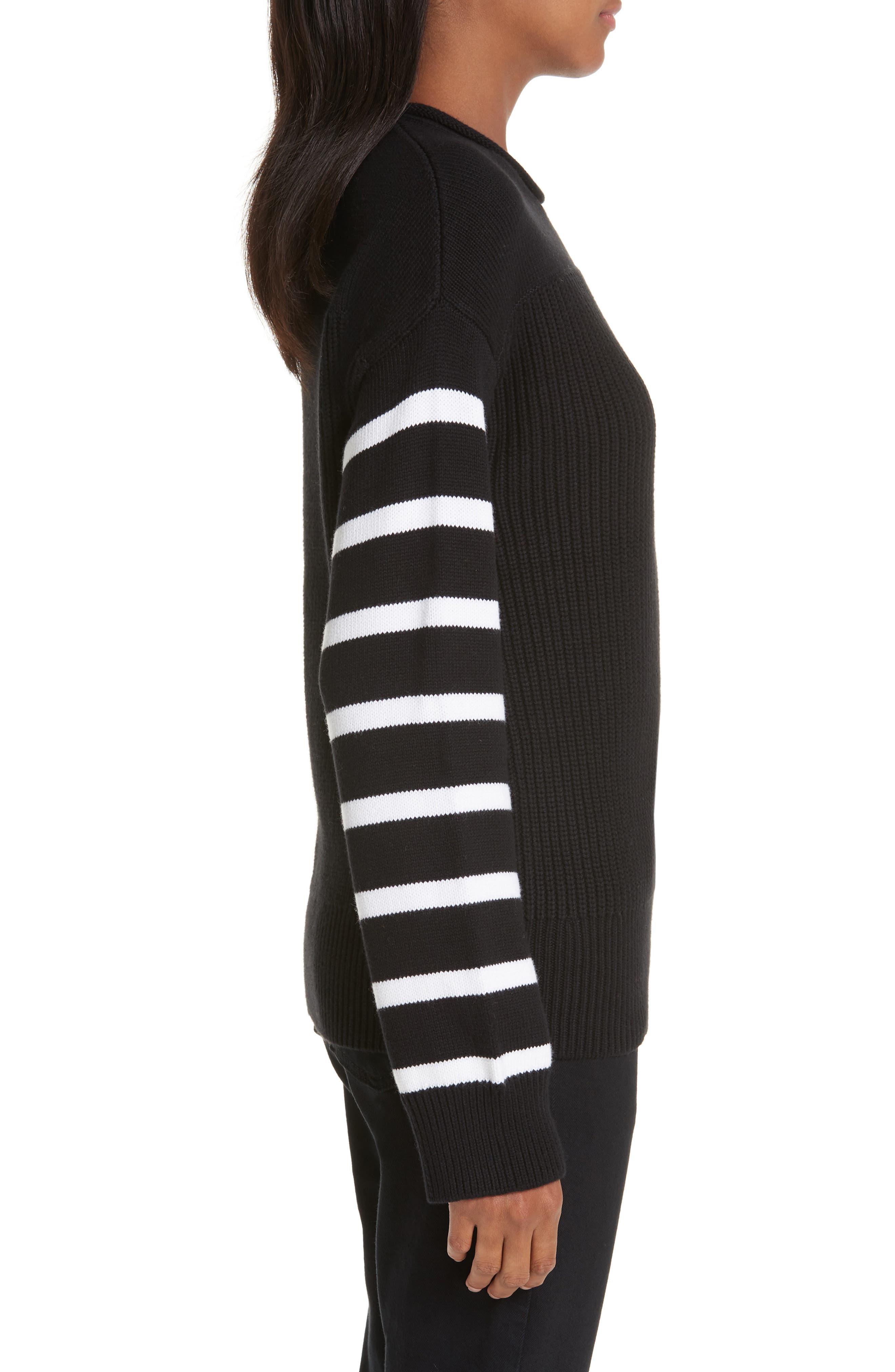 ,                             Stripe Sleeve Cotton Sweater,                             Alternate thumbnail 3, color,                             BLACK