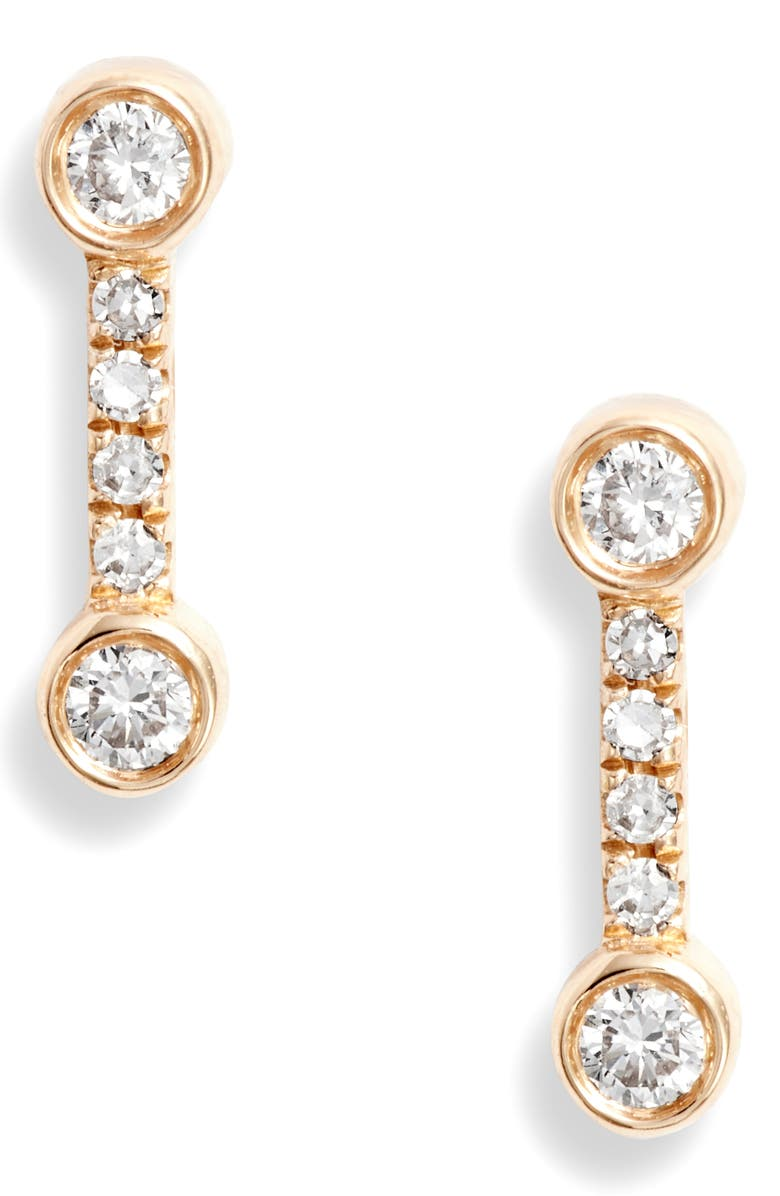 EF COLLECTION Bezel Diamond Stud Earrings, Main, color, YELLOW GOLD/ DIAMOND