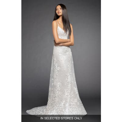 Lazaro Milena Lace & Tulle A-Line Gown, Size - Ivory