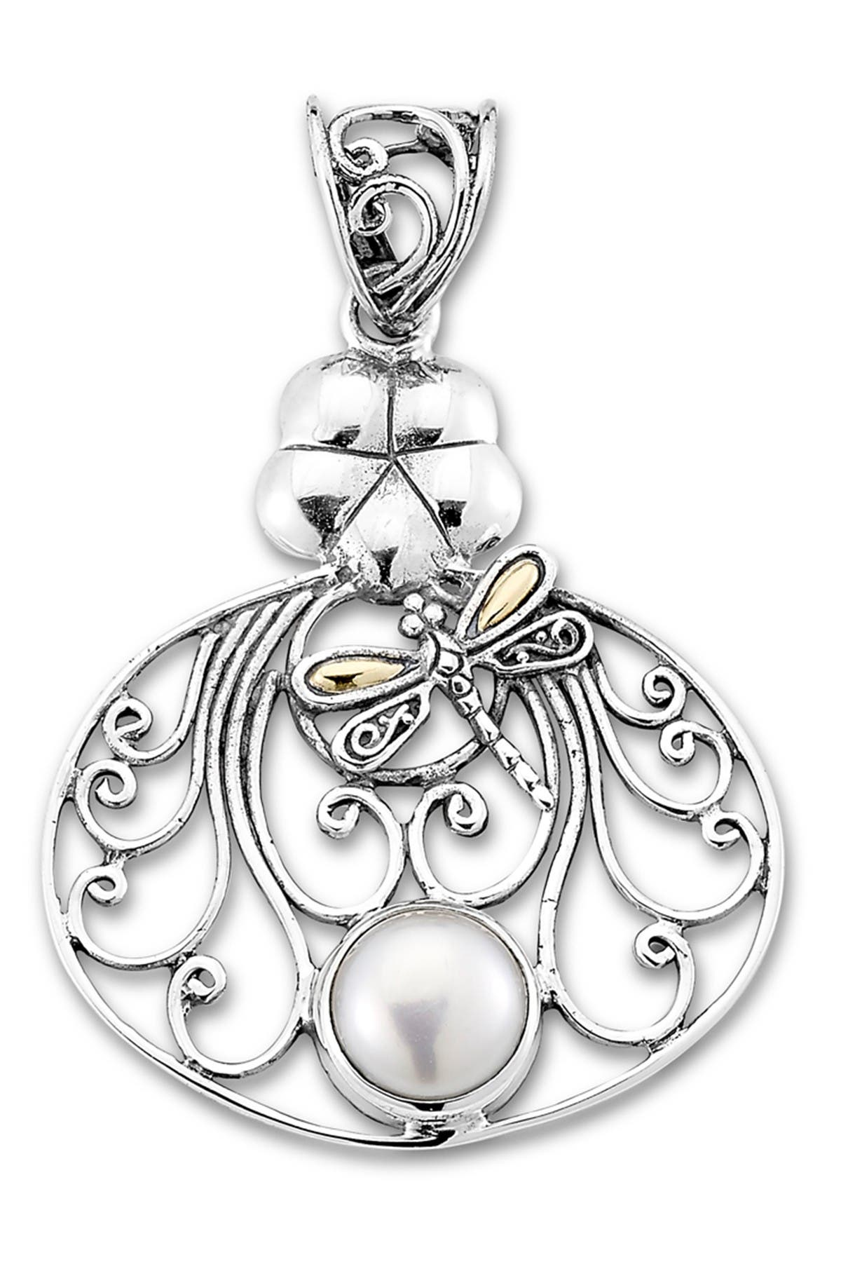 Image of Samuel B Jewelry Sterling Silver & 18K Gold Pearl Dragonfly Pendant