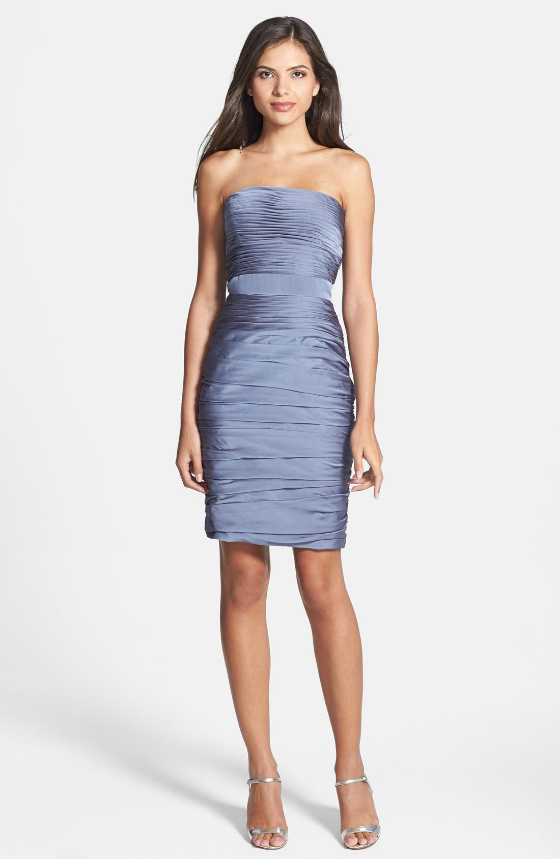,                             Ruched Strapless Cationic Chiffon Dress,                             Alternate thumbnail 16, color,                             022